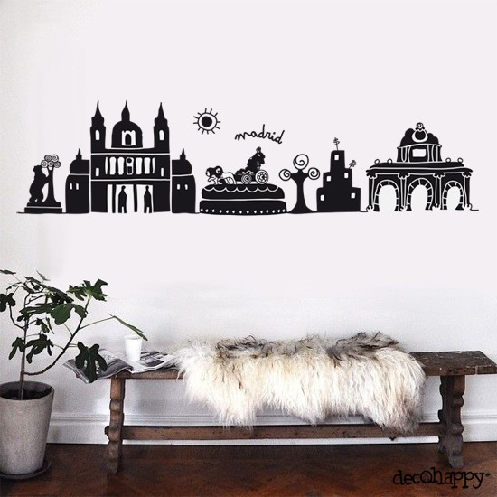 Vinilo decorativo madrid decohappy venta online for Vinilos pared ciudades