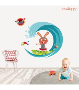 Vinilo infantil Surf animal conejo