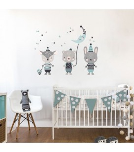 Vinilos infantiles Animales happy mint