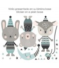 Vinilo infantil de tela Animales happy mint
