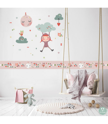 Cenefa infantil rosa Imagine