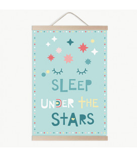 Lámina infantil sleep under the stars menta