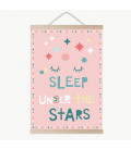 Lámina infantil sleep under the stars rosa