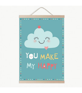 Lámina infantil you make my happy menta