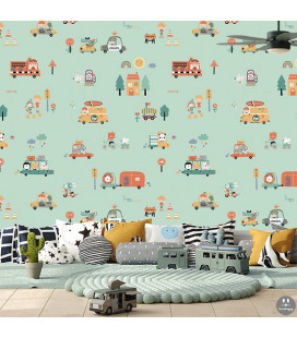 Papel pintado infantil happy coches menta