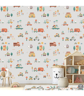 Papel pintado infantil happy coches gris